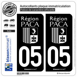 2 Autocollants plaque immatriculation Auto 05 PACA - LogoType Black