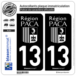 2 Autocollants plaque immatriculation Auto 13 PACA - LogoType Black