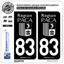 2 Autocollants plaque immatriculation Auto 83 PACA - LogoType Black