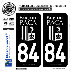 2 Autocollants plaque immatriculation Auto 84 PACA - LogoType Black