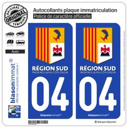 2 Autocollants plaque immatriculation Auto 04 PACA - Région Sud