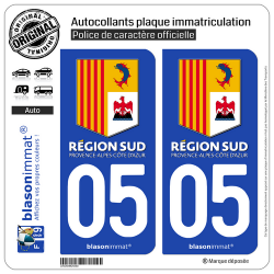 2 Autocollants plaque immatriculation Auto 05 PACA - Région Sud
