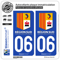 2 Autocollants plaque immatriculation Auto 06 PACA - Région Sud