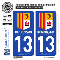 2 Autocollants plaque immatriculation Auto 13 PACA - Région Sud