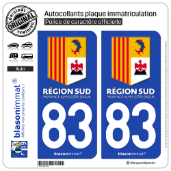 2 Autocollants plaque immatriculation Auto 83 PACA - Région Sud
