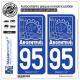 2 Autocollants plaque immatriculation Auto 95 Argenteuil - Ville