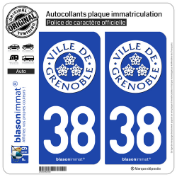 2 Autocollants plaque immatriculation Auto 38 Grenoble - Ville