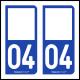 Option Choix du N° Département : 04 - (Alpes de Hautes-Provence)