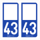 Option Choix du N° Département : 43 - (Haute-Loire)