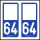 Option Choix du N° Département : 64 - (Pyrénées-Atlantiques)