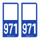 Option Choix du N° Département : 971 - N° Horizontal sur 1 ligne (971-H)