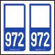 Option Choix du N° Département : 972 - N° Horizontal sur 1 ligne (972-H)