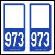Option Choix du N° Département : 973 - N° Horizontal sur 1 ligne (973-H)