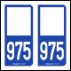 Option Choix du N° Département : 975 - N° Horizontal sur 1 ligne (975-H)