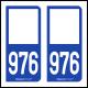 Option Choix du N° Département : 976 - N° Horizontal sur 1 ligne (976-H)