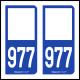 Option Choix du N° Département : 977 - N° Horizontal sur 1 ligne (977-H)