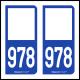 Option Choix du N° Département : 978 - N° Horizontal sur 1 ligne (978-H)