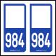 Option Choix du N° Département : 984 - N° Horizontal sur 1 ligne (984-H)