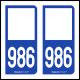 Option Choix du N° Département : 986 - N° Horizontal sur 1 ligne (986-H)