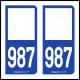 Option Choix du N° Département : 987 - N° Horizontal sur 1 ligne (987-H)