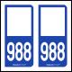 Option Choix du N° Département : 988 - N° Horizontal sur 1 ligne (988-H)