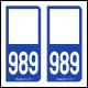 Option Choix du N° Département : 989 - N° Horizontal sur 1 ligne (989-H)