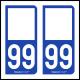 Option Choix du N° Département : 99 - (Double Neuf)