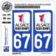 2 Autocollants plaque immatriculation Auto 67 Bas-Rhin - Département