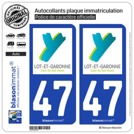 2 Autocollants plaque immatriculation Auto 47 Lot-et-Garonne - Département