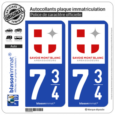 Automobilia 73 Savoie Departement Immatriculation 2 X Autocollants Sticker Autos