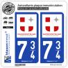 2 Autocollants plaque immatriculation Auto 734 Savoie Mont Blanc - Ambassadeurs