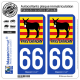 2 Autocollants plaque immatriculation Auto 66 Pays Catalan - Burro Drapé