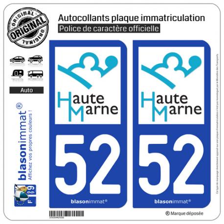 2 Autocollants plaque immatriculation Auto 52 Haute-Marne - Département