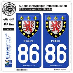2 Autocollants plaque immatriculation Auto 86 Poitiers - Armoiries