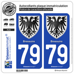 2 Autocollants plaque immatriculation Auto 79 Bressuire - Armoiries