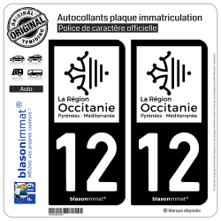 2 Autocollants plaque immatriculation Auto 12 Occitanie - LogoType N&B