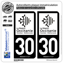 2 Autocollants plaque immatriculation Auto 30 Occitanie - LogoType N&B