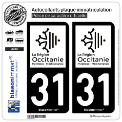 2 Autocollants plaque immatriculation Auto 31 Occitanie - LogoType N&B