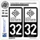 2 Autocollants plaque immatriculation Auto 32 Occitanie - LogoType N&B