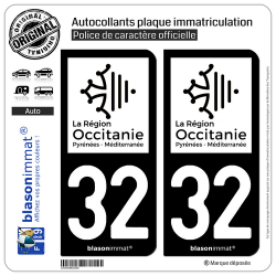2 Autocollants plaque immatriculation Auto 32 Occitanie - LogoType N&B
