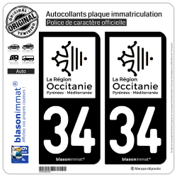 2 Autocollants plaque immatriculation Auto 34 Occitanie - LogoType N&B