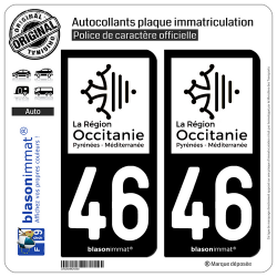 2 Autocollants plaque immatriculation Auto 46 Occitanie - LogoType N&B