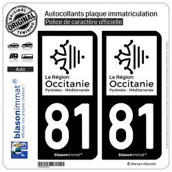 2 Autocollants plaque immatriculation Auto 81 Occitanie - LogoType N&B