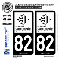 2 Autocollants plaque immatriculation Auto 82 Occitanie - LogoType N&B