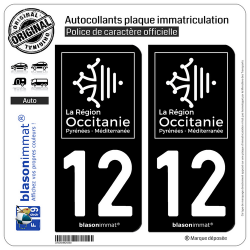 2 Autocollants plaque immatriculation Auto 12 Occitanie - LogoType Black