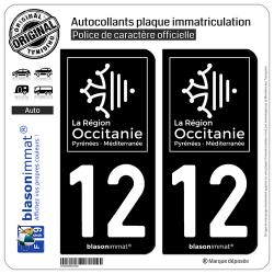 2 Autocollants plaque immatriculation Auto 12 Occitanie - LogoType Black