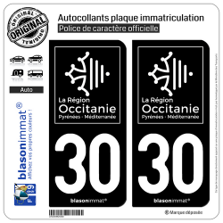 2 Autocollants plaque immatriculation Auto 30 Occitanie - LogoType Black