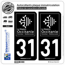 2 Autocollants plaque immatriculation Auto 31 Occitanie - LogoType Black