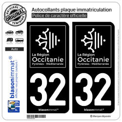 2 Autocollants plaque immatriculation Auto 32 Occitanie - LogoType Black