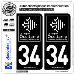 2 Autocollants plaque immatriculation Auto 34 Occitanie - LogoType Black